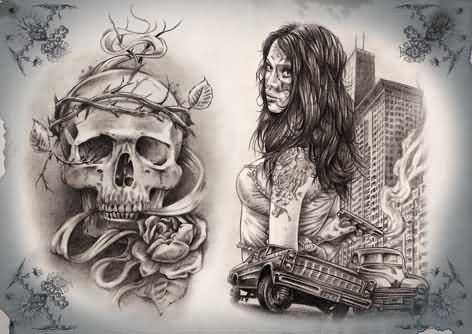 62640f08d3322 Awesome Gangsta Girl And Skull Tattoo Design