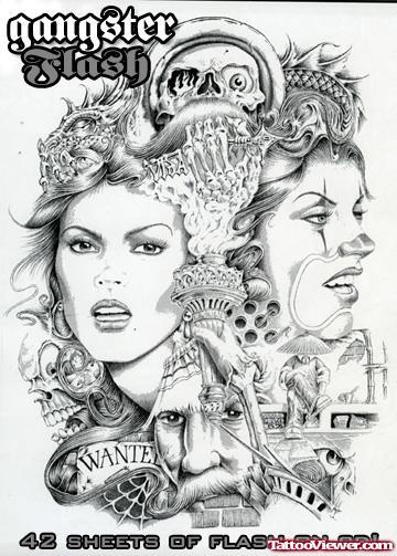 02e0d6b426b64 Awesome Gangsta Girls Tattoo Design