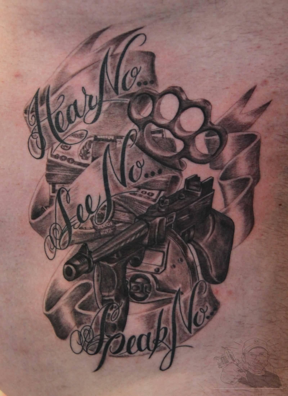 awesome grey ink gangsta tattoo. Black Bedroom Furniture Sets. Home Design Ideas