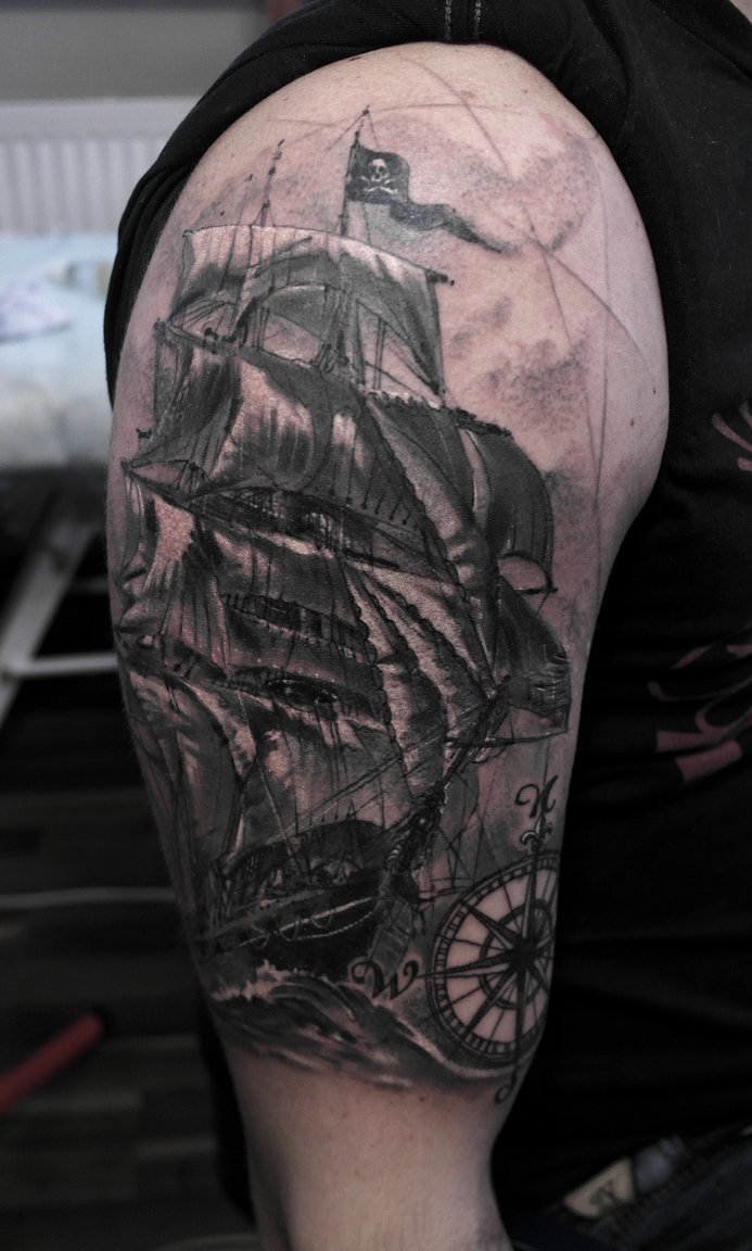 awesome grey pirate ship tattoo. Black Bedroom Furniture Sets. Home Design Ideas