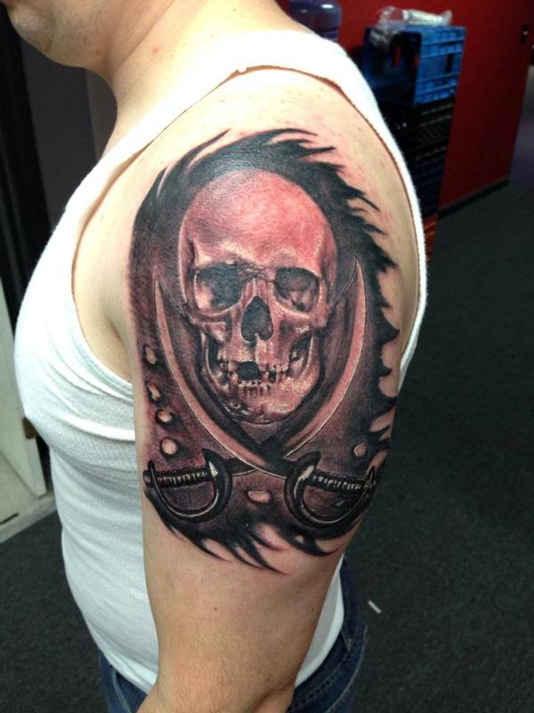 Cool Skull Pirate Flag Tattoo On Chest