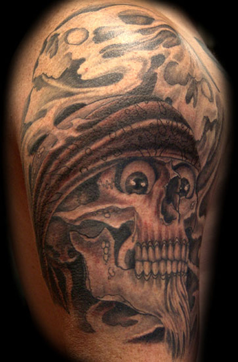 d38ea2cef9412 Awesome Scary Gangsta Skull Tattoo