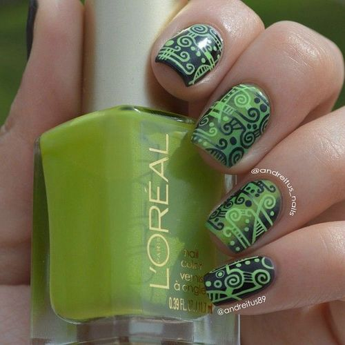 55 most incredible green nail art design ideas for trendy girls beautiful green acrylic nail art design prinsesfo Gallery