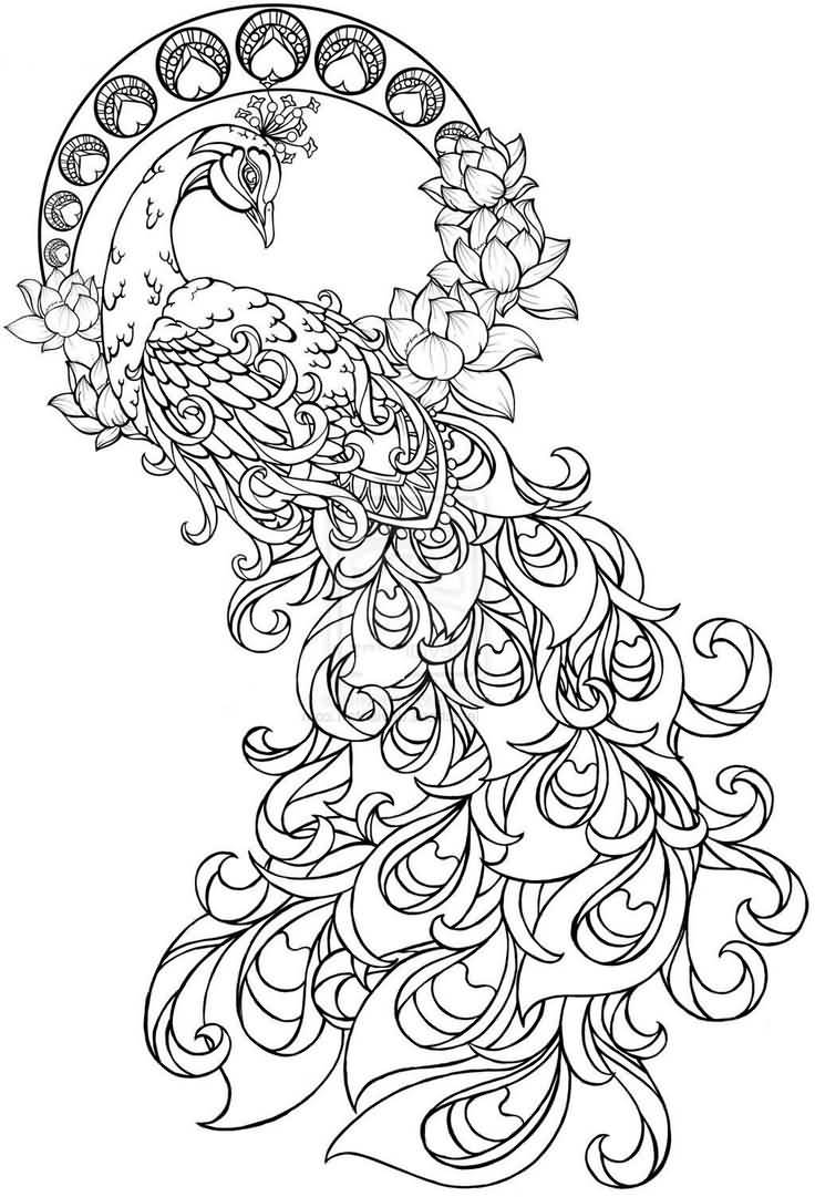 Peacock flower tattoo designs - Beautiful Peacock Paisley Pattern Tattoo Stencil