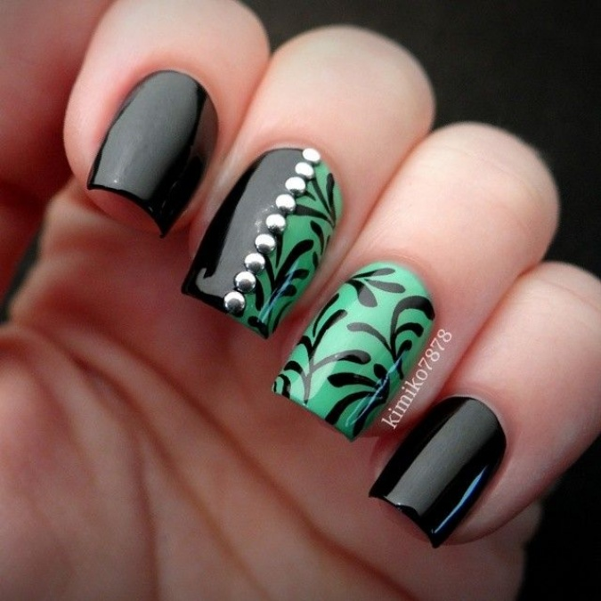 Black And Green Floral Design Nail Art With Silver Studs Design - 50 Most Beautiful Green Nail Art Designs