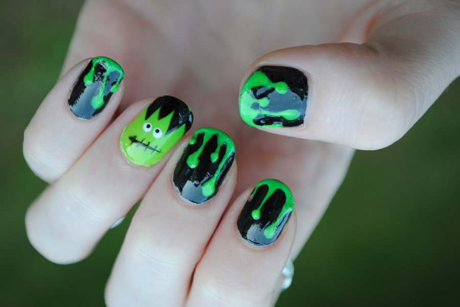 Black And Green Frankenstein Nail Art Design