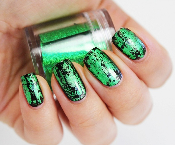 Black And Green Nail Art - 65 Most Beautiful Green Nail Art Design Ideas