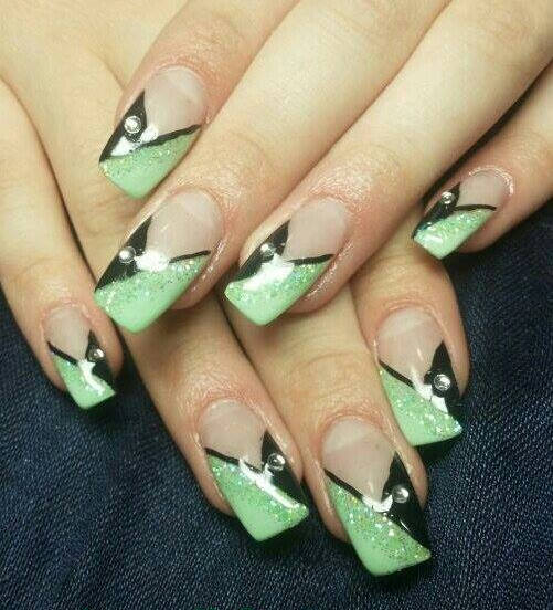 Black And Green Triangles Tip Nail Art Design - 55+ Stylish Green Nail Art Design Ideas For Trendy Girls