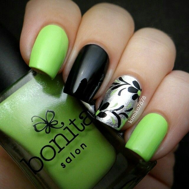 65 Most Stylish Green And Black Nail Art Design Ideas