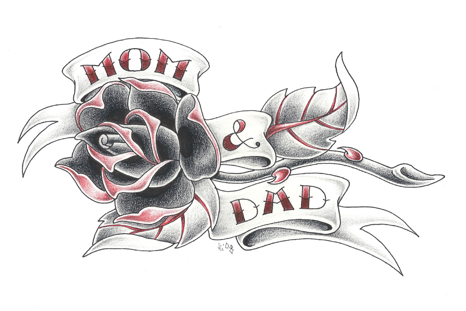 60 mom tattoos with rose black and red mom dad banner with rose traditional tattoo stencil biocorpaavc Image collections