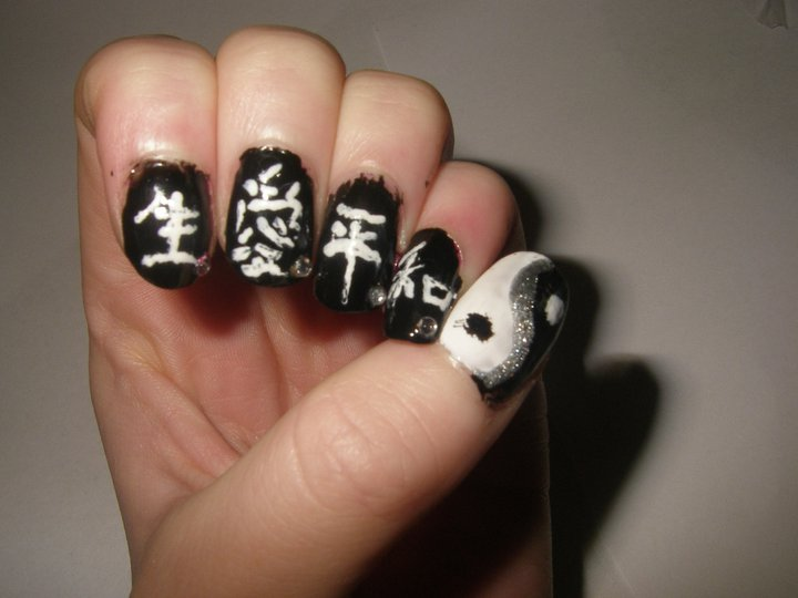 Black And White Chinese Symbols Yin Yang Nail Art Design Idea