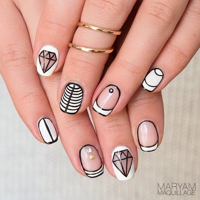 Black and white diamond negative space nail art design prinsesfo Images