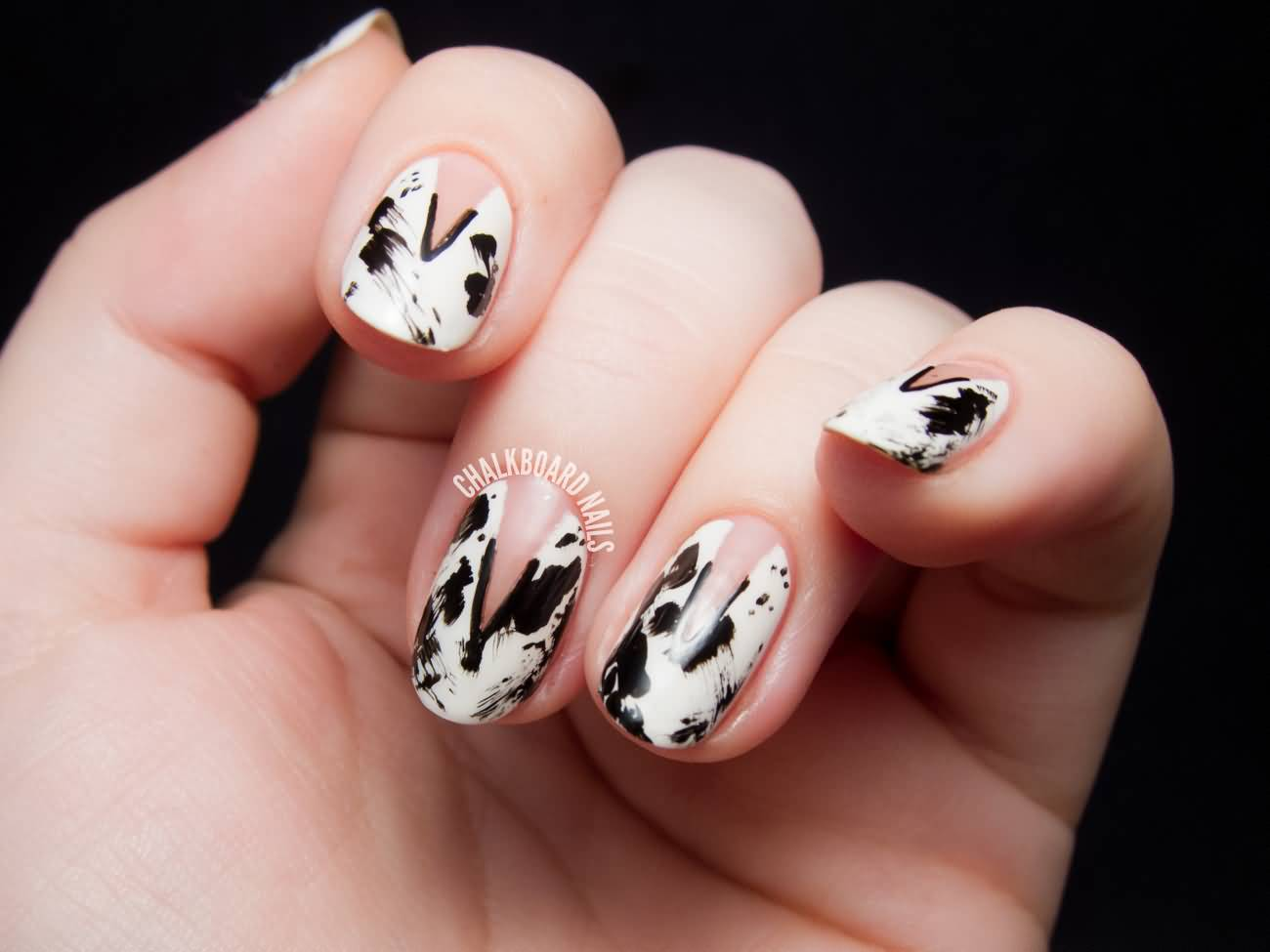 White color nail art - Black And White Splatter Color Nails With Negative Space Nail Art Design