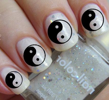 Black And White Yin Yang Chinese Nail Art Sticker