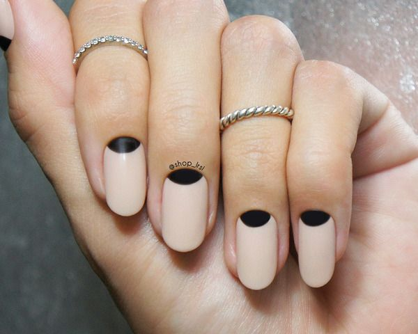 Black Half Moon Nail Art Design Idea - 23 Beautiful Black Half Moon Nail Art Design Ideas