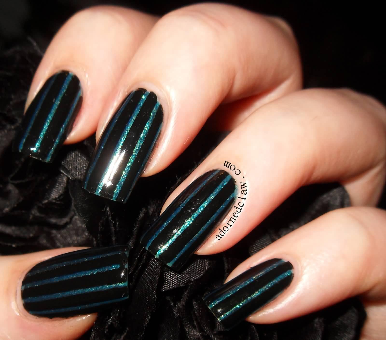 Black Nail Art: 65 Most Stylish Green And Black Nail Art Design Ideas