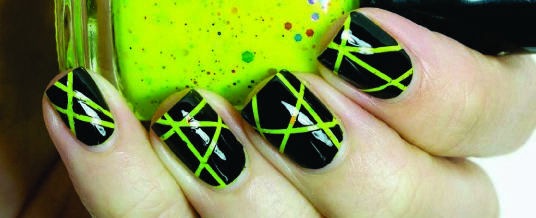 55 most incredible green nail art design ideas for trendy girls black nails with neon green stripes nail art prinsesfo Images