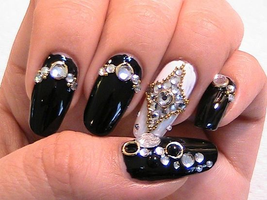 - Black Nails With Pearls And Jewellery Design Japanese Nail Art
