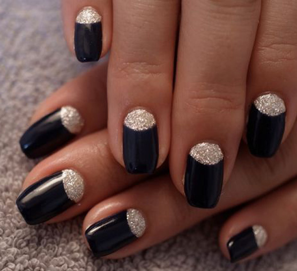 55 Most Beautiful Glitter Half Moon Nail Art Design Ideas