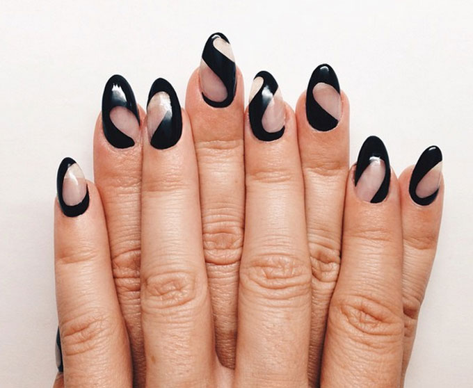Black Negative Space Nail Design Idea