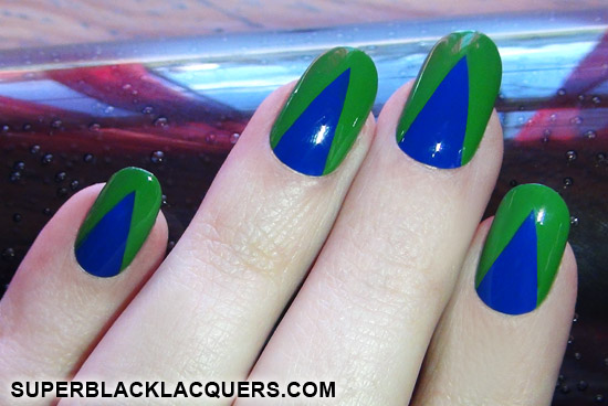 50 most beautiful green nail art designs blue and green design nail art prinsesfo Choice Image