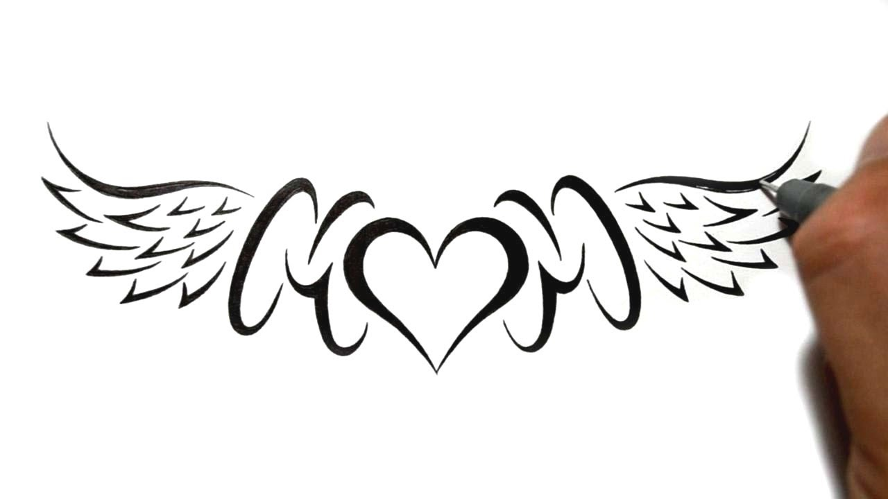 88dbf6989 Brilliant Drawing Of Mom With Heart And Wings Tattoo