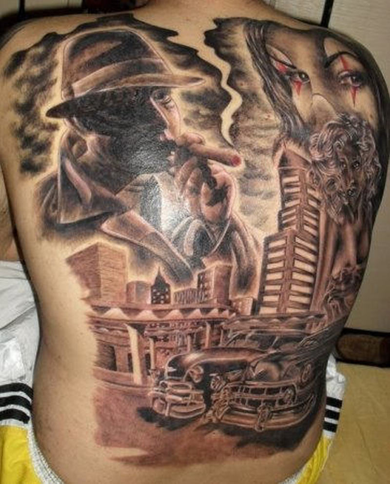 Brilliant Full Back Gangsta Tattoo