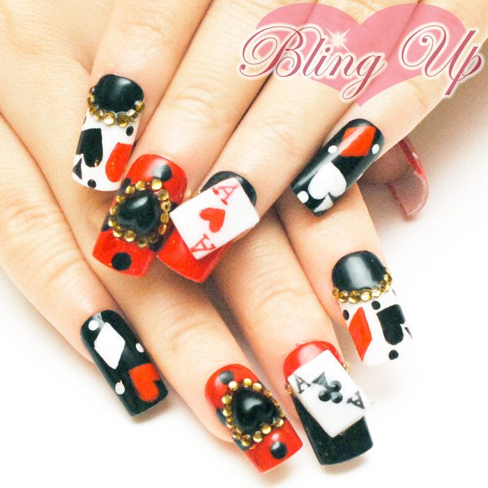 50 best japanese nail art design ideas for trendy girls cards and black 3d heart japanese nail art prinsesfo Choice Image