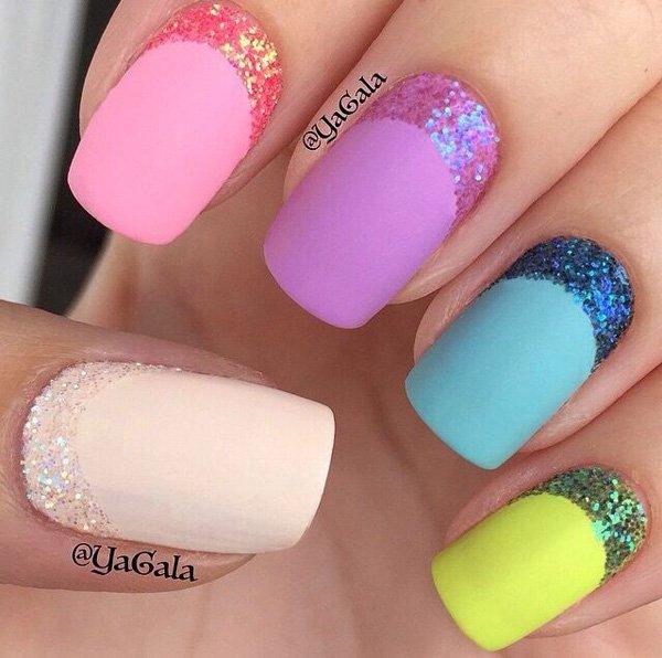 57 Most Beautiful Glitter Nail Art Design Ideas: 55 Most Beautiful Glitter Half Moon Nail Art Design Ideas