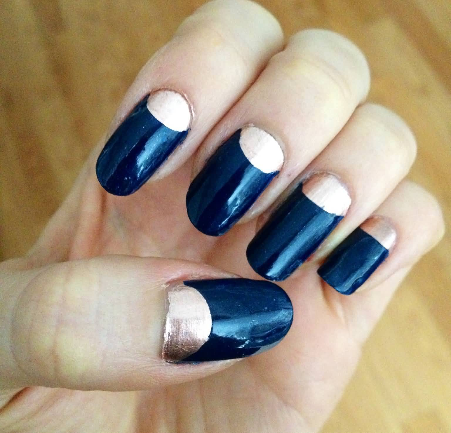 - Dark Blue And Metallic Half Moon Nail Art Design