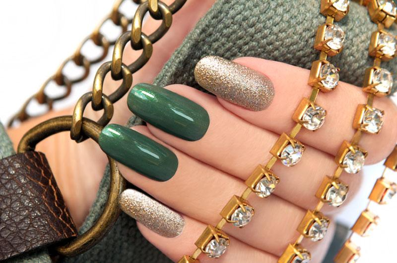 Dark Green And Gold Nail Art Design Idea