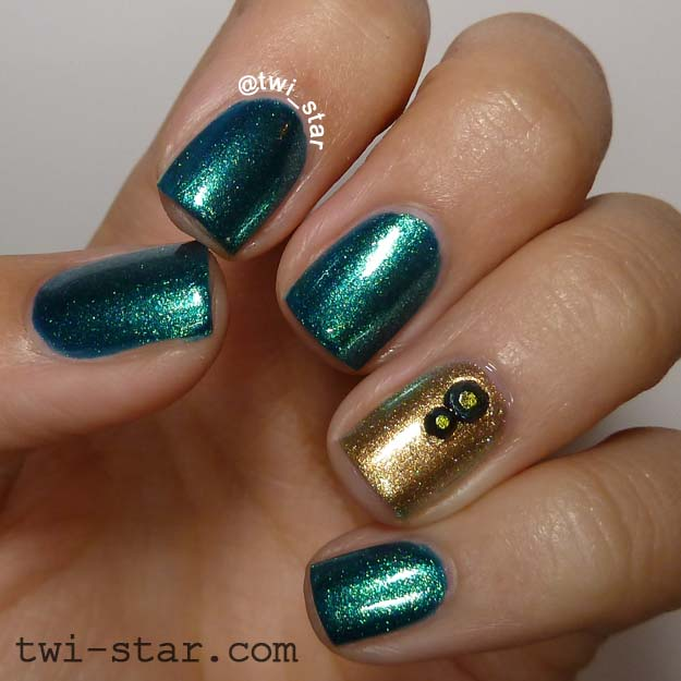Dark Green Nails With Accent Golden Design Nail Art - 75 Most Beautiful Green And Gold Nail Art Design Ideas
