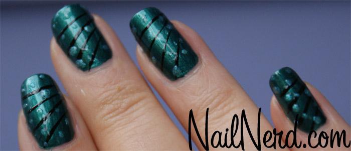 50 most beautiful green nail art designs dark green nails with black stripes and polka dots nail art prinsesfo Gallery