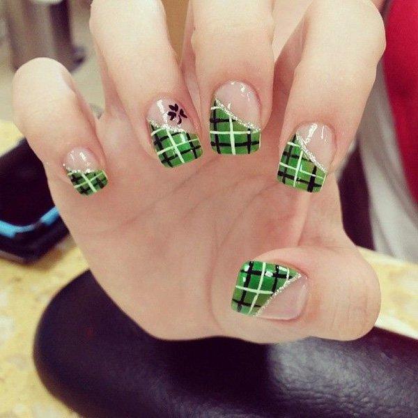 Diagonal French Tip Green Plaid Design Nail Art