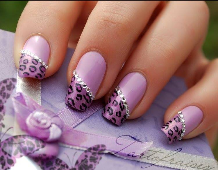 Diagonal French Tip Purple Leopard Print Nail Art