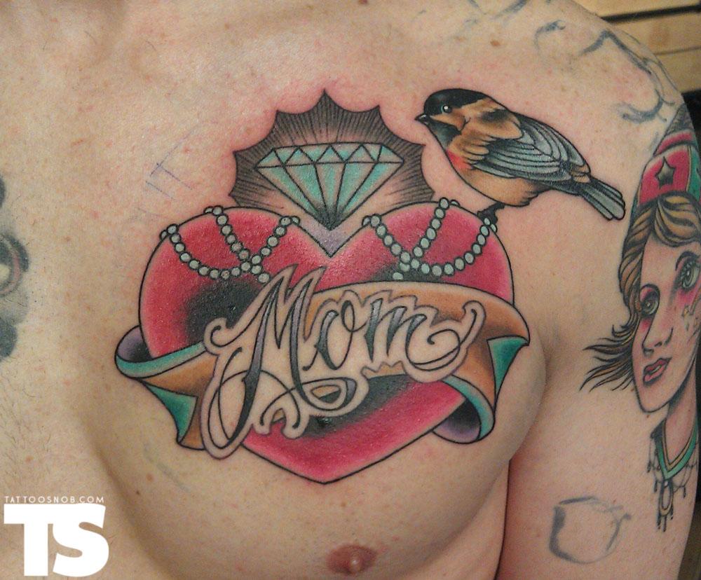 d2469bc3e Diamond Heart Of Mom Tattoo On Chest For Men