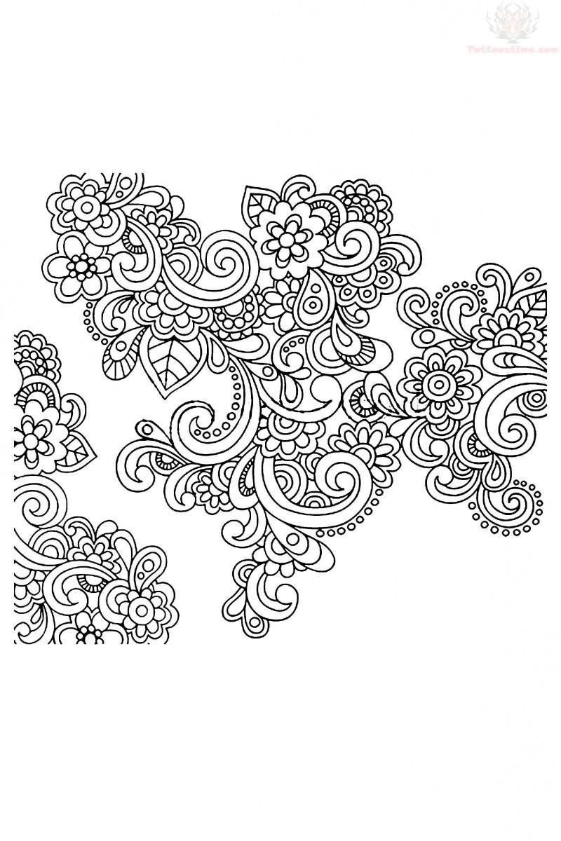 98be1d99bd2b0 Flowers Paisley Pattern Tattoo Stencil