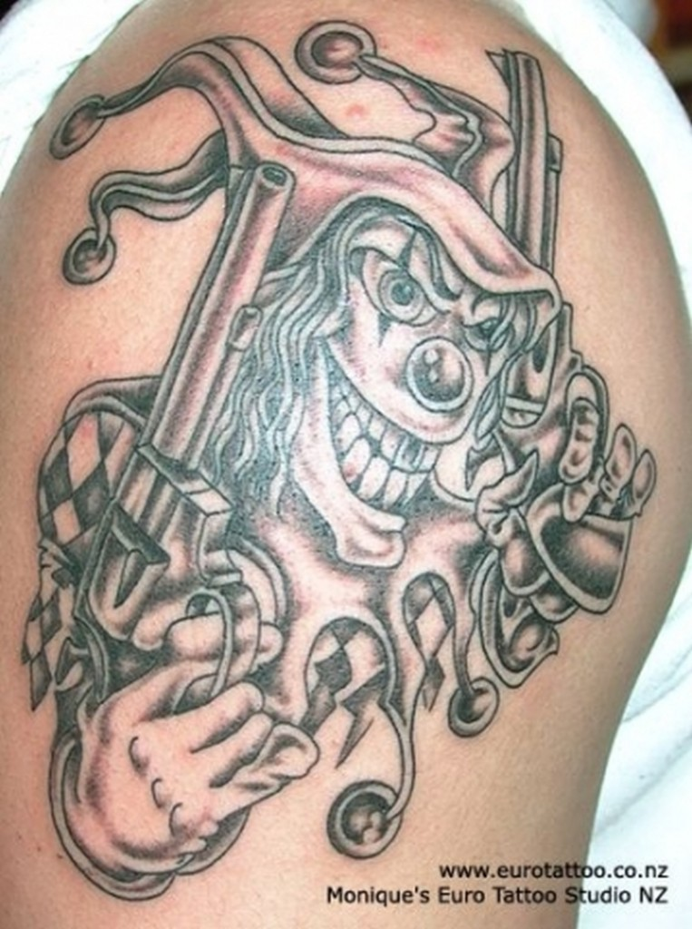 Gangsta Clown Tattoo On Shoulder