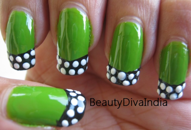 65 most beautiful green nail art design ideas glossy green nail art with black and white polka dots french tip design idea prinsesfo Gallery