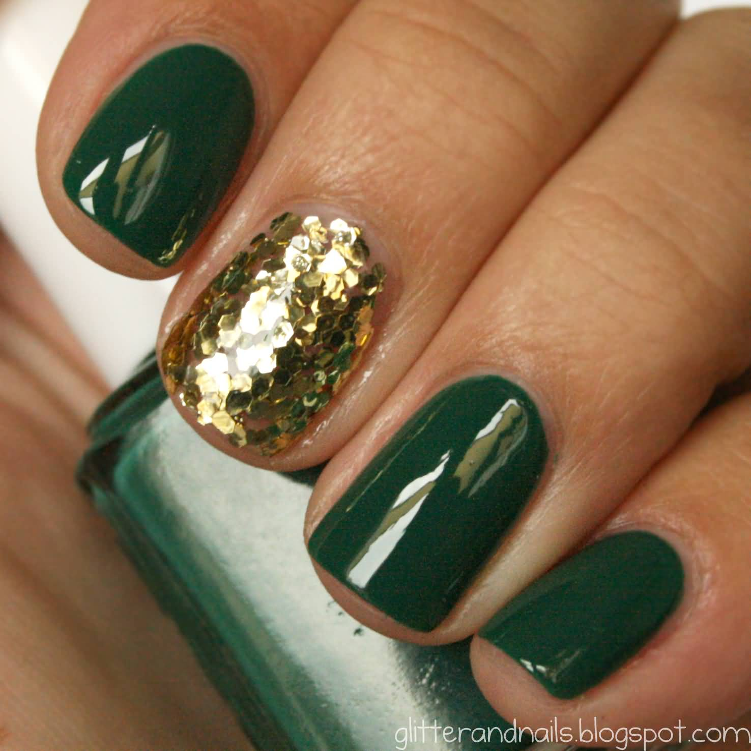Glossy Green Nails With Accent Gold Glitter Nail Art