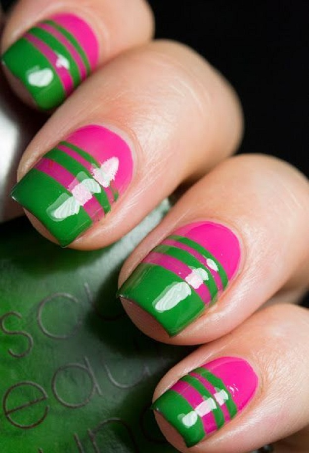 Glossy Pink And Green Nail Art Design Idea