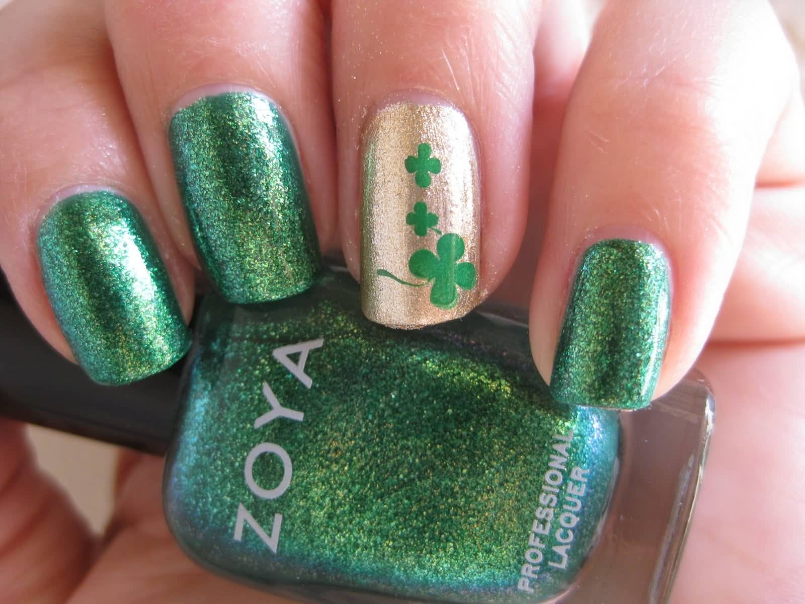 75 most beautiful green and gold nail art design ideas gold accent nail with green shamrock flower nail art prinsesfo Gallery