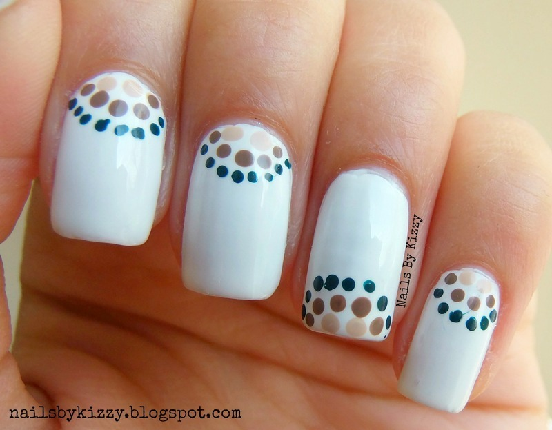 Gold And Green Polka Dots Half Moon Nail Art