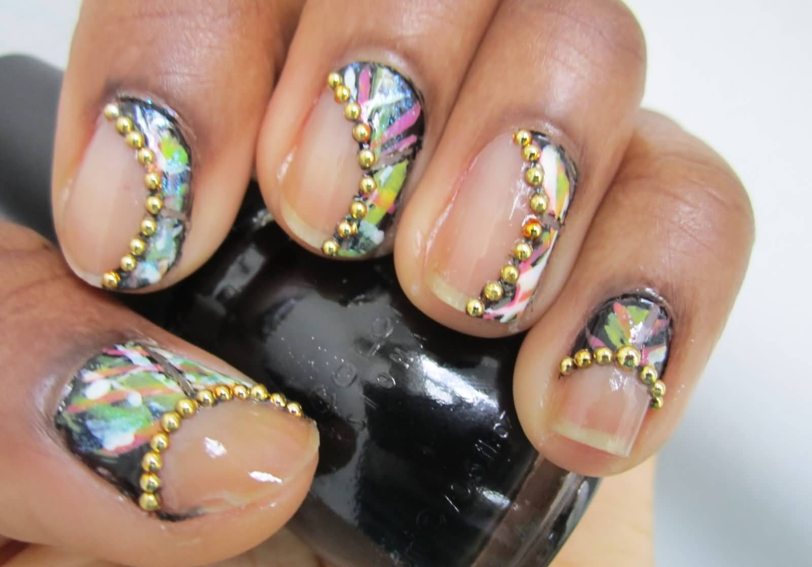 Gold Caviar Beads Negative Space Nail Art Design