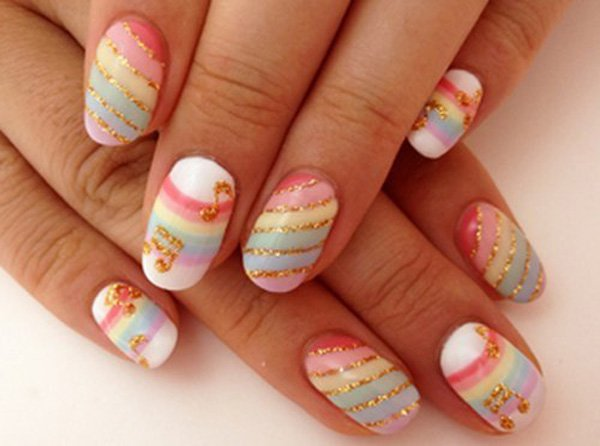 - Golden Glitter Stripes And Music Notes Japanese Nail Art