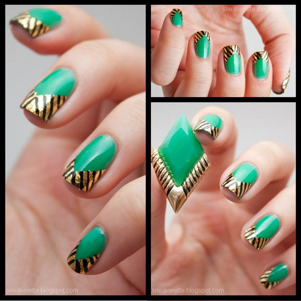 Green and gold beautiful nail art design prinsesfo Choice Image