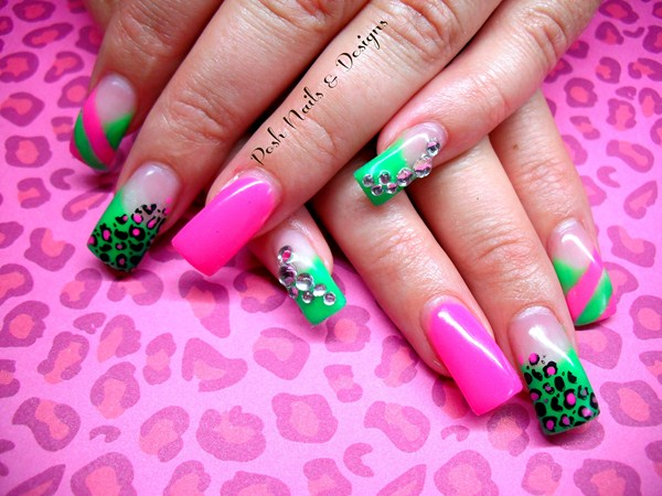 Green And Pink Leopard Print Nail Art - 65 Best Green And Pink Nail Art Designs