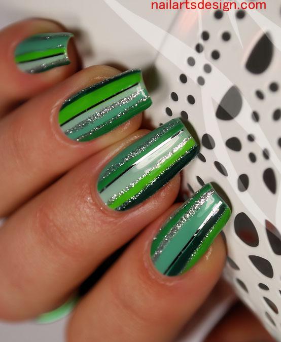 Green And Silver Glitter Stripes Nail Art