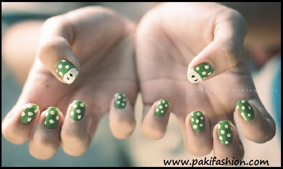 Green And White Polka Dots And Mario Mushroom Design Nail Art