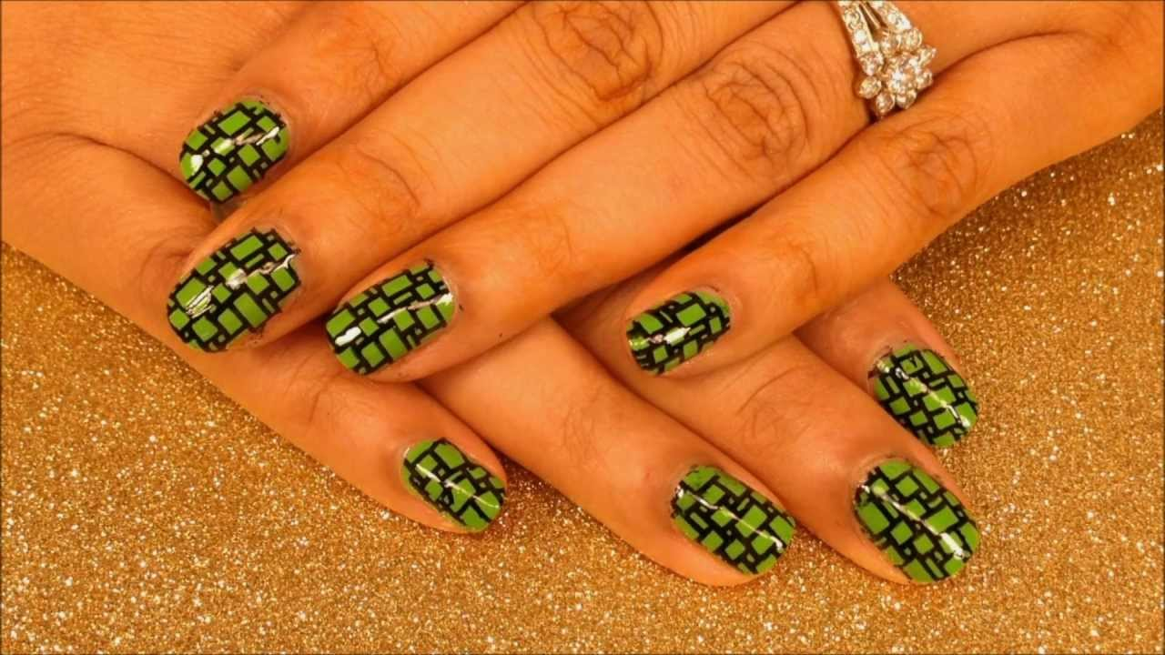Green Boxes Stamping Nail Art Tutorial